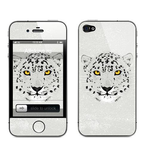 Наклейка на Телефон Apple iPhone 4S, 4 Бааарсик,  купить в Москве – интернет-магазин Allskins, животные, серый, кошка, леопард, барс