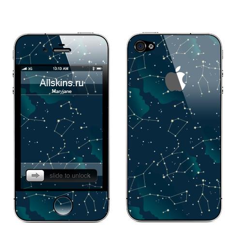Наклейка на Телефон Apple iPhone 4S, 4 (с яблоком) Космический поцелуй,  купить в Москве – интернет-магазин Allskins, бесшовный, паттерн, она, любовь, силуэт, небо, космос, созвездия