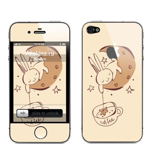 Наклейка на Телефон Apple iPhone 4S, 4 (с яблоком) Звездный кофе ,  купить в Москве – интернет-магазин Allskins, звезда, космос, чай и кофе, луна, заяц, магия, прикол