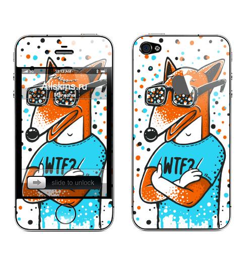 Наклейка на Телефон Apple iPhone 4S, 4 (с яблоком) WTF?,  купить в Москве – интернет-магазин Allskins, голубой, конфетти, очки, лиса, животные, хуй, оранжевый