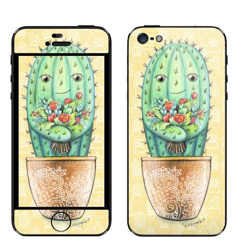 Наклейка на Телефон Apple iPhone 5 Кактус с цветами,  купить в Москве – интернет-магазин Allskins, цветы, цветы, колючий, растение, зеленый, веселый, персонажи, конверт, посткроссинг