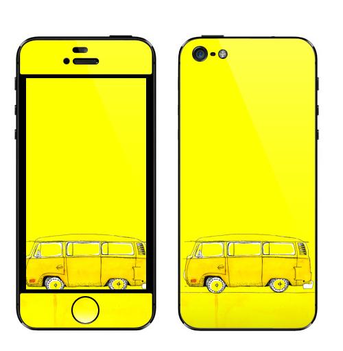 Наклейка на Телефон Apple iPhone 5 Жёлтый Автобус,  купить в Москве – интернет-магазин Allskins, автомобиль, желтый, хиппи, автомобиль, автомобиль, автомобиль