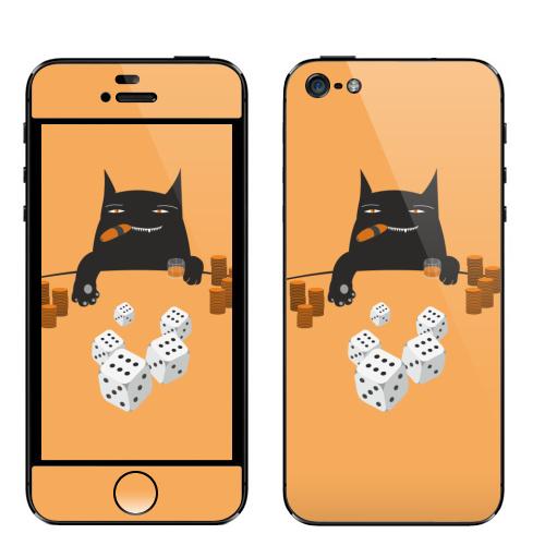 Наклейка на Телефон Apple iPhone 5 Покер на костях,  купить в Москве – интернет-магазин Allskins, кот котэ покер игра удача