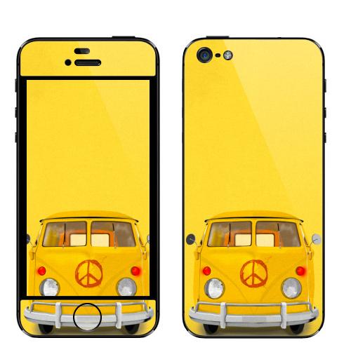 Наклейка на Телефон Apple iPhone 5 Хиппи Автобус,  купить в Москве – интернет-магазин Allskins, автобус, хиппи, желтый, иллюстация, диджитал, гранж, бохо
