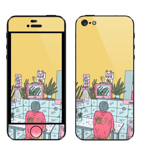 Наклейка на Телефон Apple iPhone 5 Азиатская закусочная,  купить в Москве – интернет-магазин Allskins, азия, Китай, розовый, лес, мальчик, желтый, телевизор, неон, закусочная