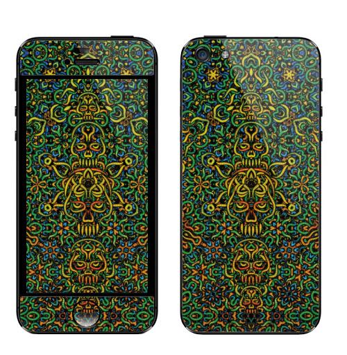 Наклейка на Телефон Apple iPhone 5 Кислый шериф,  купить в Москве – интернет-магазин Allskins, узор, галлюцинации, мандала, магия, психоделика, узор, кислотная, музыка, техно