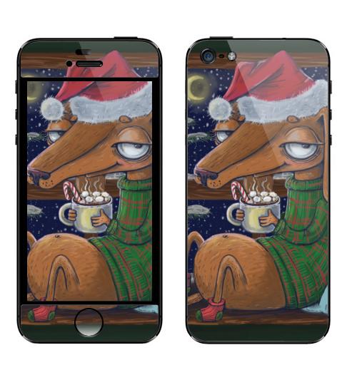 Наклейка на Телефон Apple iPhone 5 Уютный новогодний пес,  купить в Москве – интернет-магазин Allskins, нгднгд, новый_год, пёсик, собаки, такса, какао, окно, зима, уют, уютно