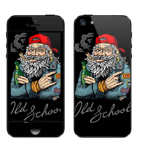Наклейка на Телефон Apple iPhone 5 Old School,  купить в Москве – интернет-магазин Allskins, english, надписи, волосы, косяк, школа, 80-е, металл, старая, олдскулл