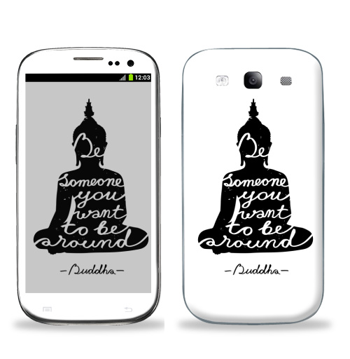 Наклейка на Телефон Samsung Galaxy S3 (i9300) Мудрость Будды,  купить в Москве – интернет-магазин Allskins, черно-белое, надписи, буддизм, йога, цитаты, силуэт, Будда, Лотос, english