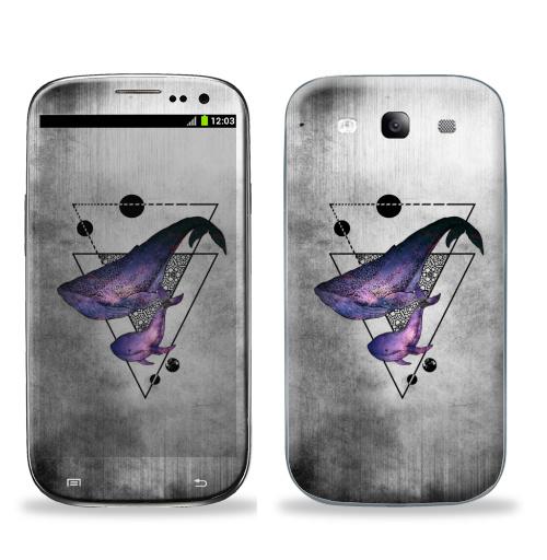 Наклейка на Телефон Samsung Galaxy S3 (i9300) Китовая песня,  купить в Москве – интернет-магазин Allskins, киты, животные, геометрический, треугольник