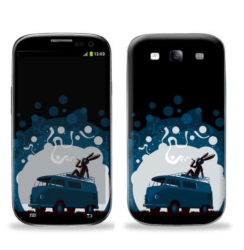 Наклейка на Телефон Samsung Galaxy S3 (i9300) Night Scene '11,  купить в Москве – интернет-магазин Allskins, крыша, sfsf, синий, заяц, дым, ночь, Фольксваген, черный, жопа