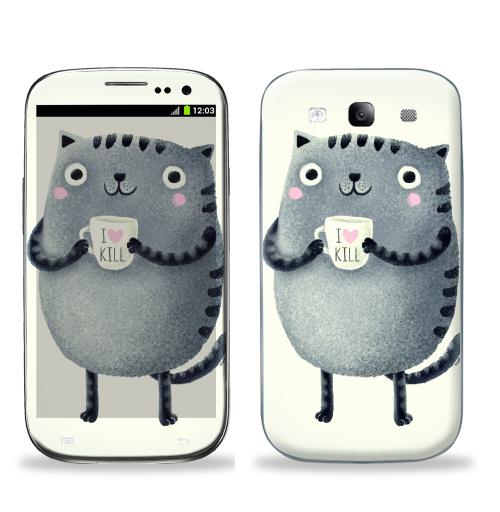 Наклейка на Телефон Samsung Galaxy S3 (i9300) Кот I♥kill,  купить в Москве – интернет-магазин Allskins, розовый, новый год, любовь, кошка, убийство, уют, чай и кофе, серый, детские