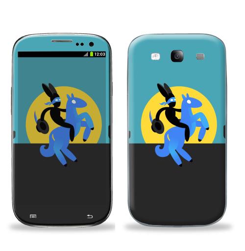Наклейка на Телефон Samsung Galaxy S3 (i9300) Синийконь,  купить в Москве – интернет-магазин Allskins, черный, зорро, синий, лошадь, заяц