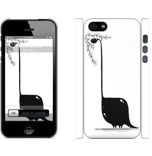 Динозавр в чб, gipgip, лавка бегемота, Чехол матовый для iPhone 5, 5S, 5SE