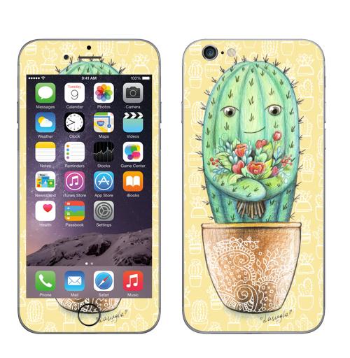 Наклейка на Телефон Apple iPhone 6, 6s Кактус с цветами,  купить в Москве – интернет-магазин Allskins, цветы, колючий, растение, зеленый, веселый, персонажи, конверт, посткроссинг