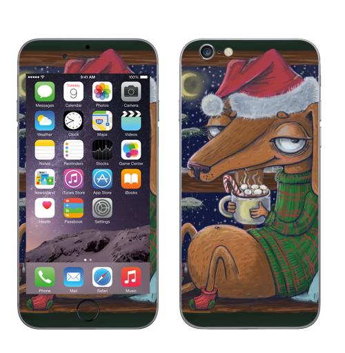 Наклейка на Телефон Apple iPhone 6, 6s Уютный новогодний пес,  купить в Москве – интернет-магазин Allskins, нгднгд, новый год, пёсик, собаки, такса, какао, окно, зима, уют, уютно