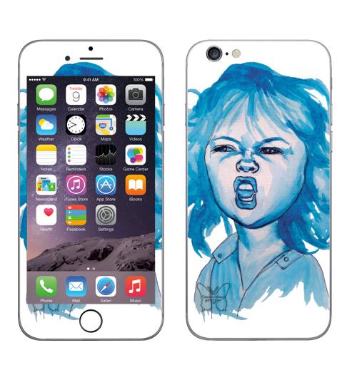 Наклейка на Телефон Apple iPhone 6, 6s Трээээш,  купить в Москве – интернет-магазин Allskins, синий, акварель, ребенок, девушка, эмоция, хардкор