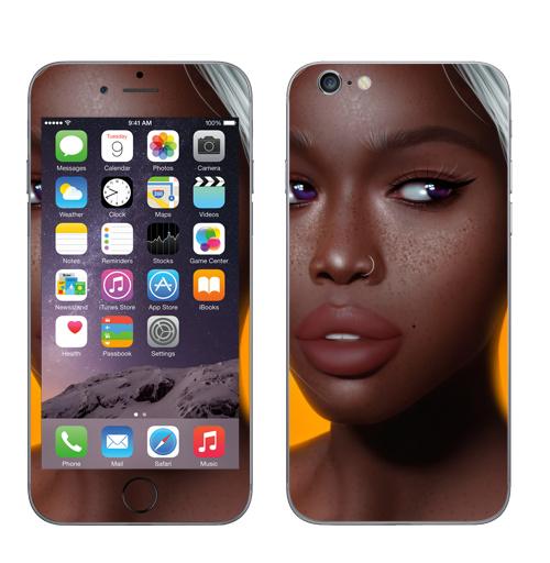 Наклейка на Телефон Apple iPhone 6, 6s Мулатка,  купить в Москве – интернет-магазин Allskins, девушка, мулатка, мультяшная, пирсинг