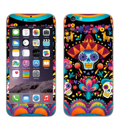 Наклейка на Телефон Apple iPhone 6, 6s Диа де лос муэртос,  купить в Москве – интернет-магазин Allskins, узор, череп, пикник, яркий, Мексика, маракасы, цветы, кактусы