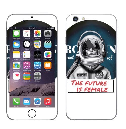 Наклейка на Телефон Apple iPhone 6 с яблоком Будущее это женщина,  купить в Москве – интернет-магазин Allskins, профессия, надписи, космонавтика, космос, феминизм, девушка