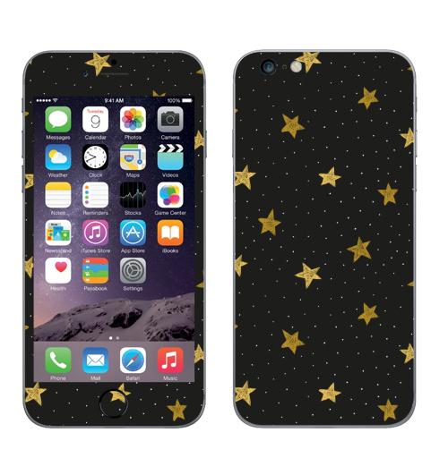 Наклейка на Телефон Apple iPhone 6 plus Звездная пыль,  купить в Москве – интернет-магазин Allskins, полностьючерный, ЗОЛОТОЙ, астрология, небо, точки, паттерн, звезда