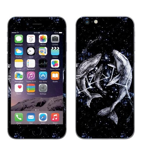 Наклейка на Телефон Apple iPhone 6 plus Межгалактические киты,  купить в Москве – интернет-магазин Allskins, полностьючерный, небо, животные, ночь, звезда, космос, киты