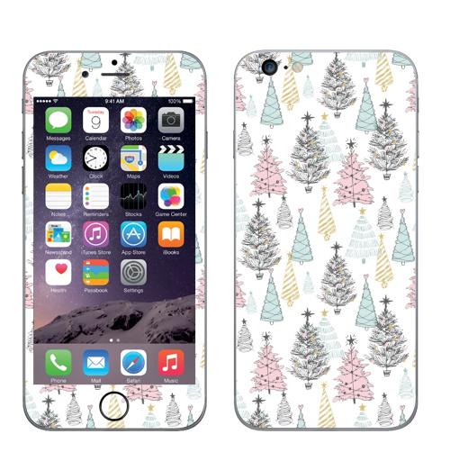Наклейка на Телефон Apple iPhone 6 plus Ёлки новогодние,  купить в Москве – интернет-магазин Allskins, пикник, графика, паттерн, зима, новый год, новый год