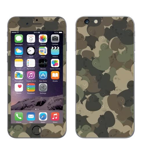 Наклейка на Телефон Apple iPhone 6 plus Камуфляж с резиновыми уточками,  купить в Москве – интернет-магазин Allskins, хаки, текстура, военные, паттерн, утка, утенок, игрушки, ванная