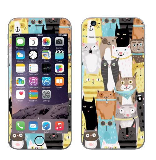 Наклейка на Телефон Apple iPhone 6 plus Многокотов,  купить в Москве – интернет-магазин Allskins, кошка, кошка, кошка, кошка, запечатка, весна, яркий, веселый