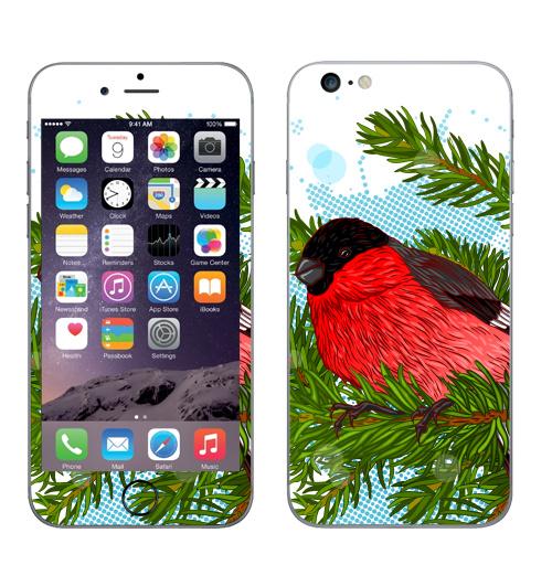 Наклейка на Телефон Apple iPhone 6 plus Снегирь,  купить в Москве – интернет-магазин Allskins, новый год, зима, птицы, снег, елка, снегирь
