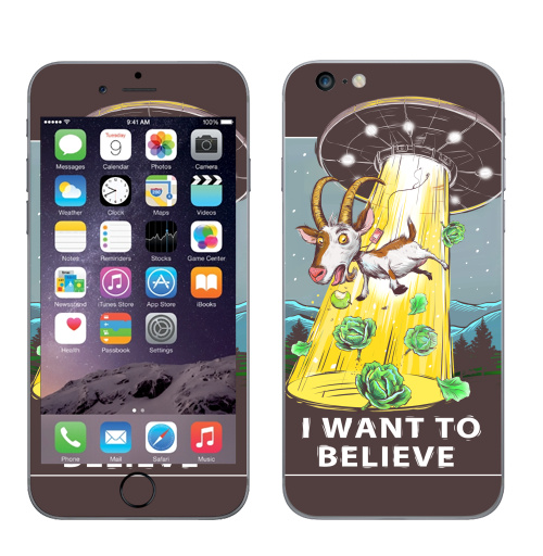 Наклейка на Телефон Apple iPhone 6 plus I want to believe,  купить в Москве – интернет-магазин Allskins, english, программист, овцы, иностранцы, космос, надписи