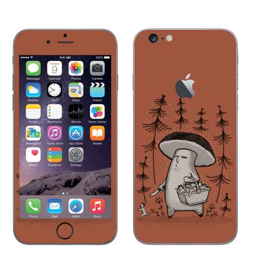 Наклейка на Телефон Apple iPhone 6 plus с яблоком Грибы пошли,  купить в Москве – интернет-магазин Allskins, грибы, прикол