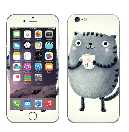 Наклейка на Телефон Apple iPhone 7 Кот I♥kill,  купить в Москве – интернет-магазин Allskins, розовый, новый год, любовь, кошка, убийство, уют, чай и кофе, серый, детские