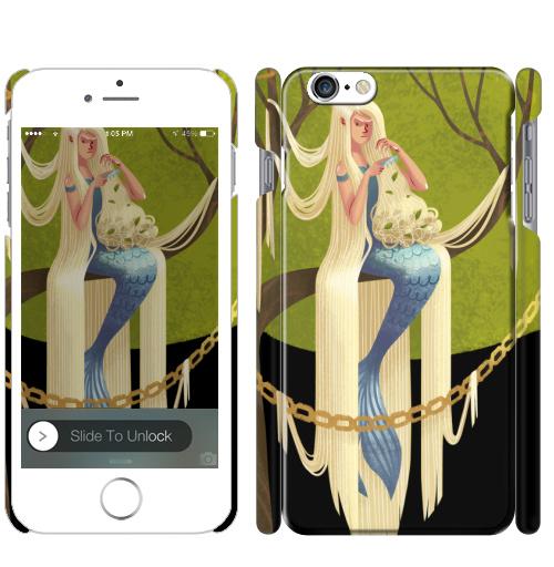 Русалка с длинными волосами, ElinaNovak, Чехол матовый для iPhone 7
