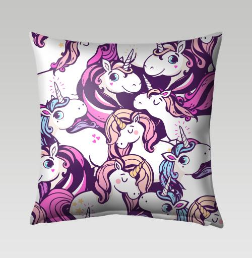Наклейка на Подушки Подушки Подушка Единорогов много не бывает,  купить в Москве – интернет-магазин Allskins, мило, голубой, фиолетовый, розовый, лошадь, сказки, магия, единорог