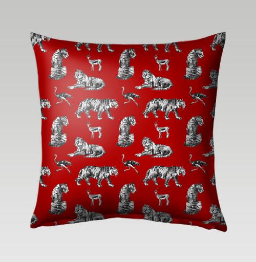 Наклейка на Подушки Подушки Подушка Тигры на красном,  купить в Москве – интернет-магазин Allskins, зверушки, африка, Саванна, антилопа, дикая, природа, фауна, хищник, добыча