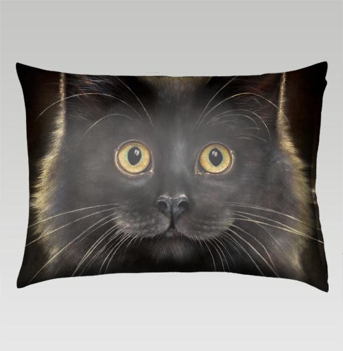 Наклейка на Подушки Подушки Подушка прямоугольная Желтоглазый кот,  купить в Москве – интернет-магазин Allskins, милые животные, животные, усы, кошка, глаз
