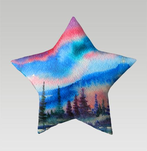Полярное сияние, Atman, Магазин футболок Atman, Подушка звезда