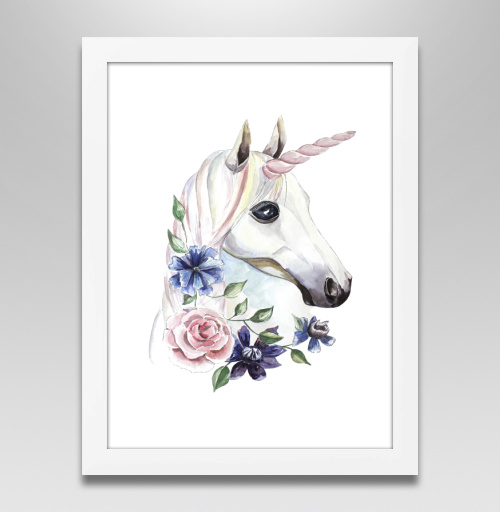 Наклейка на Постеры Постер в белой раме Постер в белой раме 30х40 см Единорог в цветах,  купить в Москве – интернет-магазин Allskins, единорог, цветы, акварель, васильки, василек, розовый, голубой, пастельный, лошадь