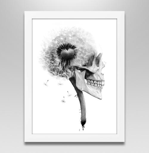 Наклейка на Постеры Постер в белой раме Постер в белой раме ОДУВАНЧ,  купить в Москве – интернет-магазин Allskins, розыгрыш, прикол, череп, скелет, цветы, идея, металл, rock