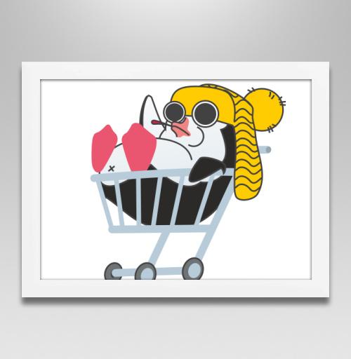 Безмятежный пингвин, Pankratov, Постер в белой раме