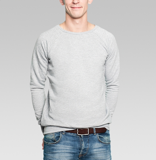 Да, пофиг, Wazanaok, Магазин футболок Wazanaok, Свитшот мужской серый-меланж  320гр, стандарт