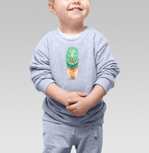 Cвитшот Детский серый меланж 320 гр стандарт - Кактус с цветами