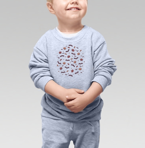Cвитшот Детский серый меланж 320 гр стандарт - Паттерн с летучими мышами