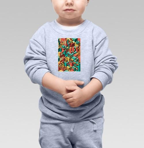 Cвитшот Детский серый меланж 320 гр стандарт - Геометрическая Вакханалия