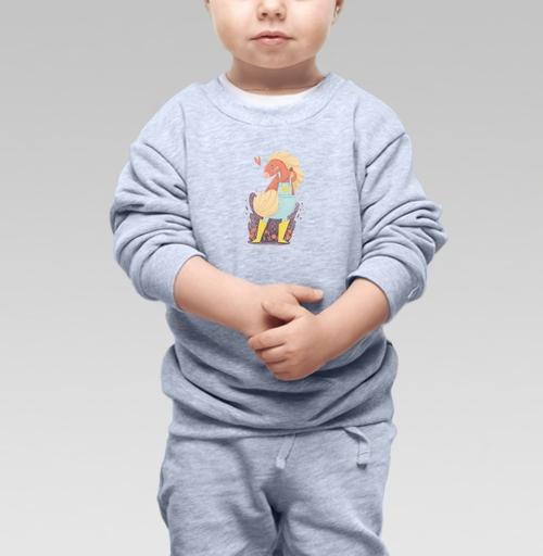 Cвитшот Детский серый меланж 320 гр стандарт - Единорог в желтых сапожках
