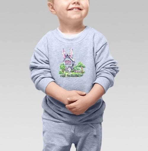 Cвитшот Детский серый меланж 320 гр стандарт - Домик Мартовского Зайца