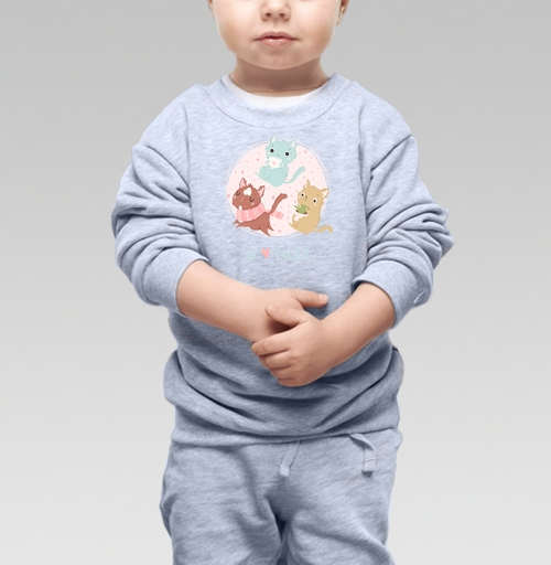Cвитшот Детский серый меланж 320 гр стандарт - Я люблю котеек