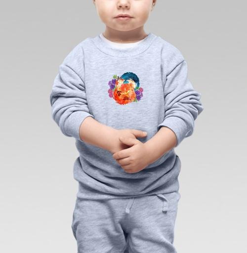 Cвитшот Детский серый меланж 320 гр стандарт - Мечтательный лис
