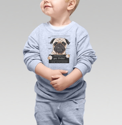 Cвитшот Детский серый меланж 320 гр стандарт - Плохой мопс